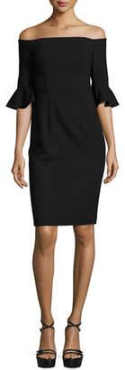 Black Halo Flutter-Sleeve Off-the-Shoulder Sheath Dress