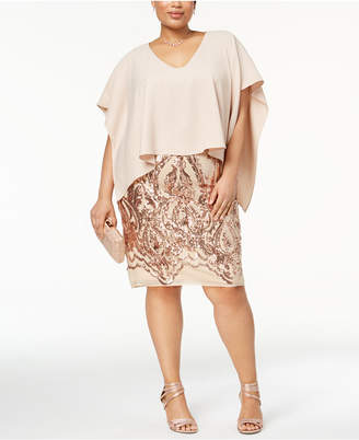 Betsy & Adam Plus Size Sequined Popover Dress