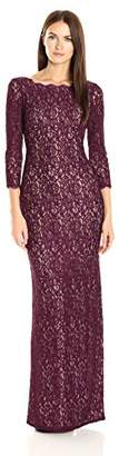 Adrianna Papell Women's 3/4 Sleeve Lace Gown with V-Back,6