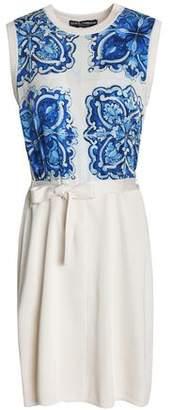 Dolce & Gabbana Printed Crepe De Chine-Paneled Silk Mini Dress