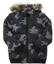 Camo Print Faux Fur Trim Puffer Coat