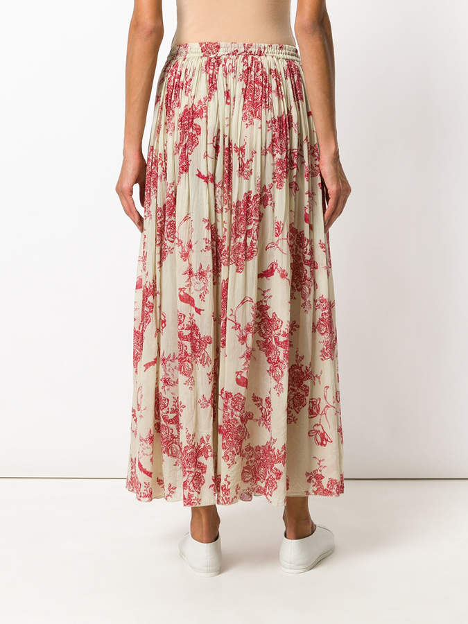 Forte Forte pleated floral print skirt