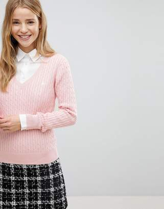 Jack Wills V-Neck Cable Knit Sweater