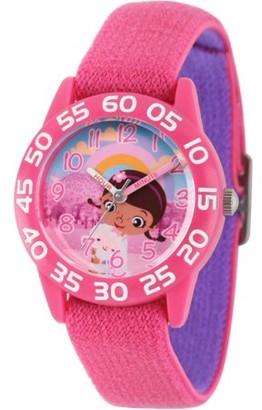 Disney Doc Mcstuffins, Lambie Girls' Pink Plastic Time Teacher Watch, Reversible Pink and Purple Nylon Strap
