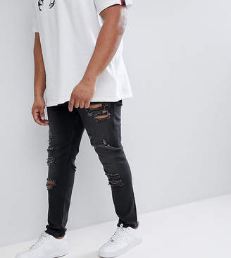 Asos DESIGN PLUS Skinny Jeans in 12.5oz With Mega Rips In Washed Black