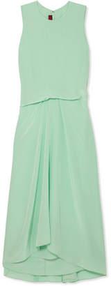 Sies Marjan Lottie Pick Up Silk Crepe De Chine Midi Dress - Light green