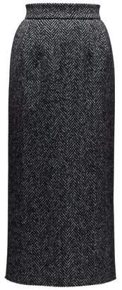 Dolce & Gabbana High Rise Wool Blend Herringbone Pencil Skirt - Womens - Grey Multi