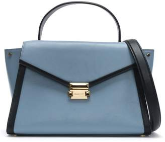 Michael Kors Large Whitney Pale Blue & Admiral Leather Satchel Bag
