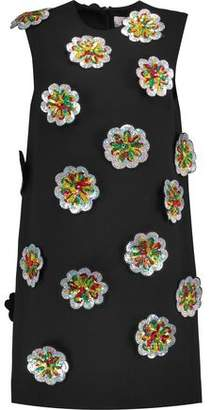 Victoria Beckham Victoria Sequined Floral-Appliqud Crepe Mini Dress