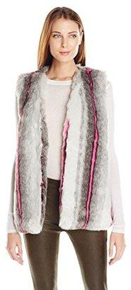 Buffalo David Bitton Women's Furry Hilites Faux Fur Animal Print Vest $128 thestylecure.com