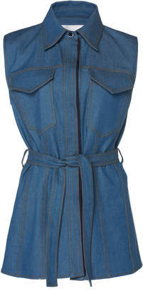 Victoria Beckham Victoria Belted Sleeveless Denim Shirt