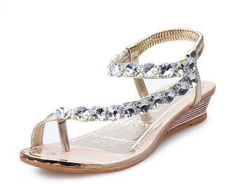 ANBOO Woman Summer Sandals Rhinestone Flats Platform Wedges Shoes Flip Flops
