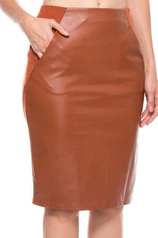 Camel Leather Skirt - ShopStyle Australia