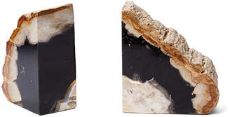 One Kings Lane Set of 2 Petrified-Wood Bookends - Dark Wood