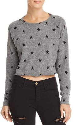 LnA Brushed Cropped Star Print Sweatshirt