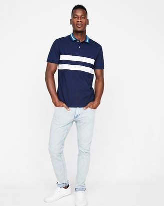 Express Striped Stretch Pique Polo Shirt