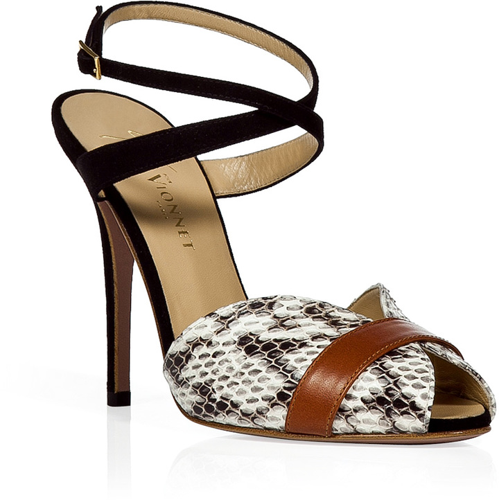 Vionnet Black and White Ankle Strap Sandals