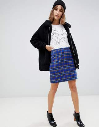 New Look skirt in blue plaid