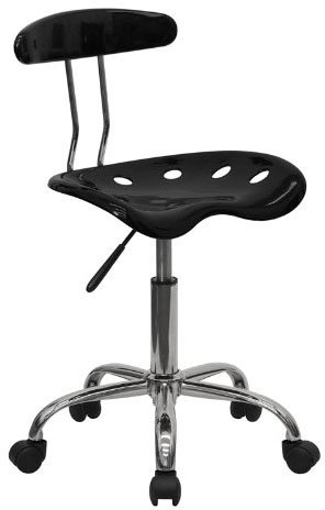 FlashFurniture Vibrant Computer Task Chair with Tractor Seat, Black & Chrome