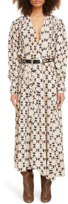 Isabel Marant Quilt Print Long Sleeve Stretch Silk Midi Dress