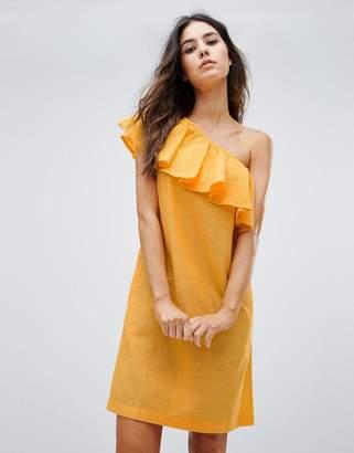 Warehouse Ruffle One Shoulder Dress