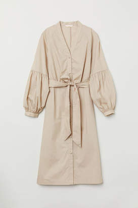 H&M V-neck Shirt Dress - Beige
