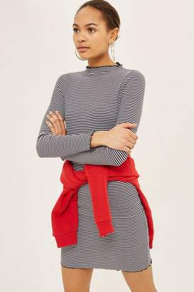 Topshop Stripe Frill Edge Bodycon Dress