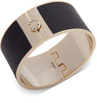 DKNY Gold-Tone & Leather Wide Bangle Bracelet
