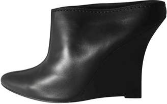 Manolo Blahnik Black Leather Mules & Clogs