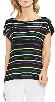 Vince Camuto Paradise Stripe Mixed Media Top