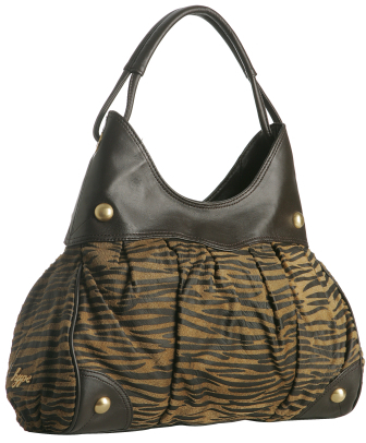 Hype chocolate leather 'Zebrato' print shoulder bag