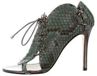 Camilla Skovgaard Metallic-Trimmed Python Sandals