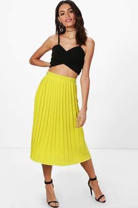 boohoo Textured Crepe Pleated Midi Skirt