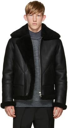 Acne Studios Black Ian Shearling Jacket $2,700 thestylecure.com