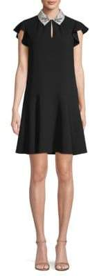 Rebecca Taylor Embellished Collar Flounce Dress