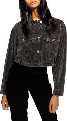 Topshop Crystal Pin Stud Denim Jacket