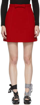 Miu Miu Red A-Line Pockets and Bow Miniskirt