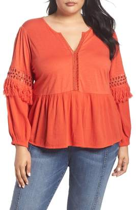 Lucky Brand Cutout Peasant Top