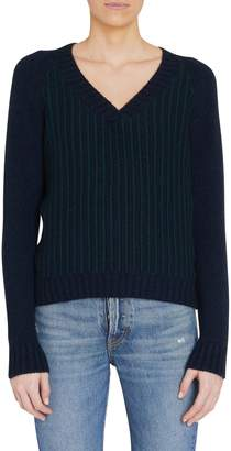 Loro Piana V-Neck Stripe Detail Cashmere Sweater