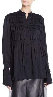 Derek Lam Button-Front Long-Sleeve Plisse Pleated Shirt w/ Ruffle French Cuff