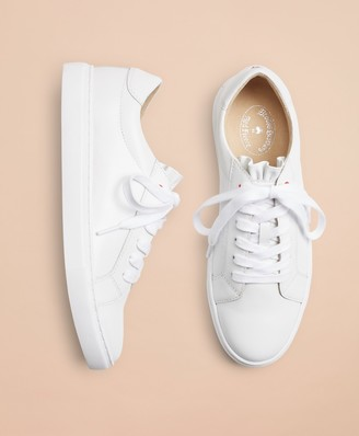 7e42ef5732e39 Brooks Brothers Ruffle-Trimmed Leather Low-Top Sneakers