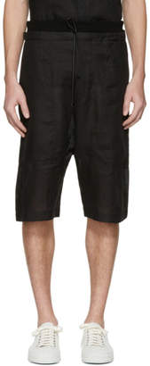 Isabel Benenato Black Linen Shorts