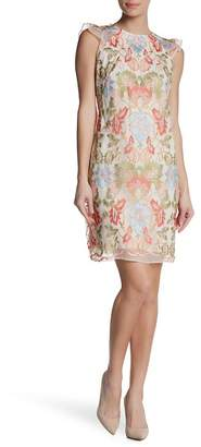 Donna Ricco Embroidered Lace Overlay Dress