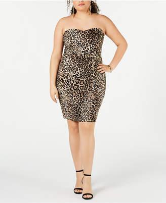 B. Darlin Juniors' Plus Size Animal-Print Strapless Dress
