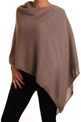 Black Light Brown Knitted Cashmere Poncho