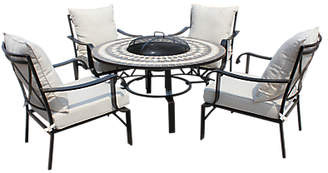 LG Electronics Outdoor Casablanca 4 Seater Garden Round Table Lounging Set with Firepit, Charcoal