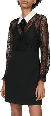 Maje Ramoni Contrast-Collar Lace Mini Dress