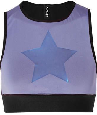 04a10131ec8b1d ULTRACOR Knockout Appliquéd Stretch Sports Bra - Sky blue