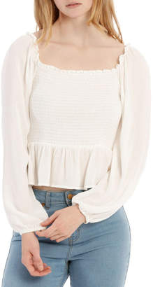 Miss Shop Shirred Bodice Long Sleeve Top