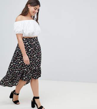 AX Paris Plus Ditsy Floral Drop Hem Skirt